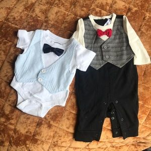 0-3 month bow tie outfits